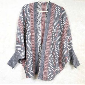 Charlotte Russe Grey & Pink Aztec Cardigan